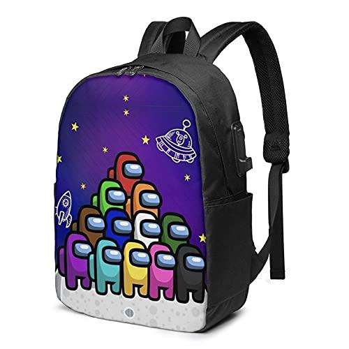 Hdadwy Am-on_g Us Mochila de dibujos animados con puerto de carga USB, unisex de moda para colegio, mochila de viaje