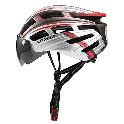 ZHXH Nueva Una Sola Pieza Casco De Bicicleta De Montaña con Gafas De Sol Visera Extraíble,6