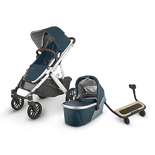 UPPAbaby Vista V2 Stroller - Finn (Deep Sea/Silver/Chestnut Leather) + Piggyback for Vista & Vista V2