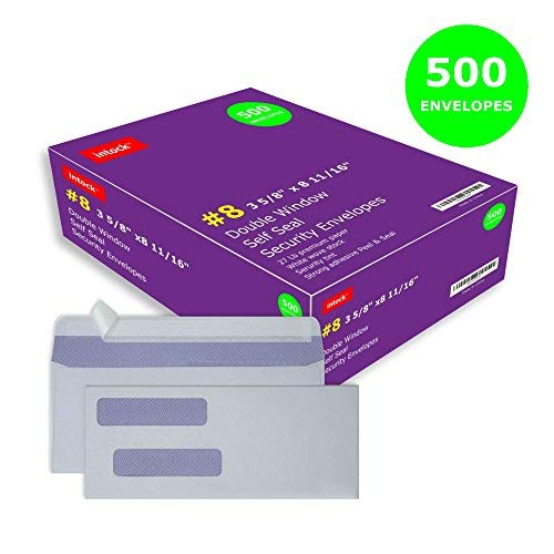 Double Window Envelopes Self Seal Envelopes #8 Ideal for Quickbooks Checks, Business Check, Document Secure Mailing, Peel & Seal Adhesive, Tinted White Security Envelopes, 3 5/8 x 8 11/16, 500 Pcs/Box