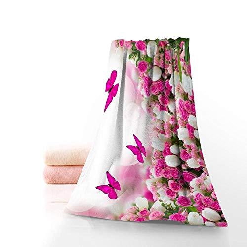 TIGERROSA Toallas De Playa Toalla De Baño Grande Primavera Mariposa Flor Toalla...