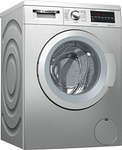 Bosch Serie 6 WUQ2848XES Independiente Carga frontal 8kg 1400RPM A+++ Acero inoxidable - Lavadora (Independiente, Carga frontal, Acero inoxidable, Giratorio, Tocar, Izquierda, LED)
