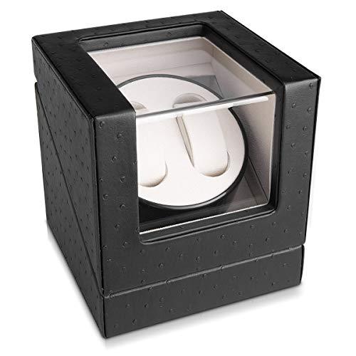 Navaris Uhrenbeweger in Kunstleder Optik - für 2 Automatikuhren - 20x18x18cm - 4 Modi Uhren Beweger Uhrenbox mit Netzteil - Uhrendreher Schwarz