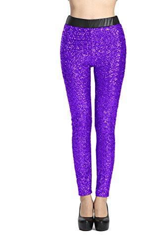 Harem Yoga Damen Yoga Hosen vorne mit Pailletten Leggings Purple M