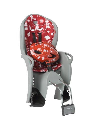 Hamax Kinderfahrradsitz Kiss Safety Package, (Helm Größe 48-52 cm), medium grau/rot, HAM551058
