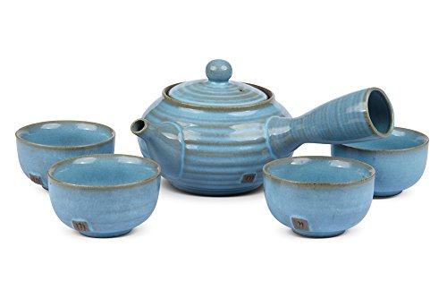 myteapot Kyusu Teekannen-Set Basic himmelblau 250ml incl. 4 Stück Kyusu Teacup/Einhandkanne/Seitenhandkanne