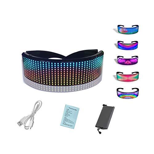 WYCY Persianas Luminosas LED Gafas Iluminadas Control de Aplicaciones Pantalla a Todo Color Gafas LED Gafas Luminosas USB para Disfraces de Halloween Fiesta Discotecas Fiesta de Cumpleaños