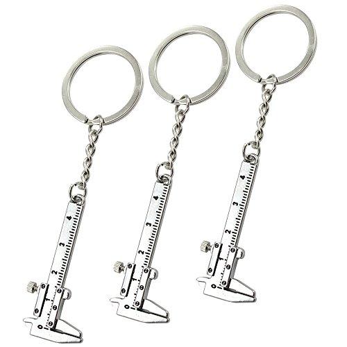com-four® 3X Schlüsselanhänger Messschieber - Werkzeug-Anhänger aus Metall mit Messschieberfunktion - Rucksack-Anhänger für den Reißverschluss - 10,9 cm (03 Stück - Messschieber)