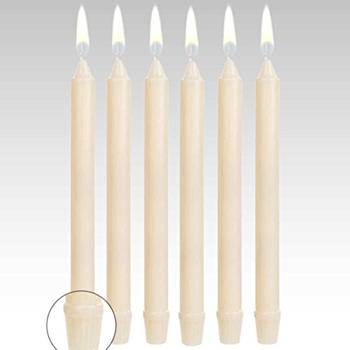8 Inch Formal Dinner Candles (Set of 12) Dripless and Smokeless - Made in USA (Ivory)