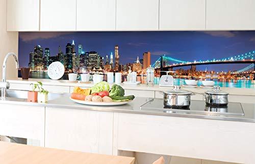 DIMEX LINE Küchenrückwand Folie selbstklebend Manhattan   Klebefolie - Dekofolie - Spritzschutz für Küche   Premium QUALITÄT - Made in EU   350 cm x 60 cm