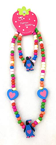 Kids Wooden Blue Penguin Necklace and Bracelet Set - Elastic 15 inches- Girls love bead accessories - Play Jewelry - Spinnaker Collection