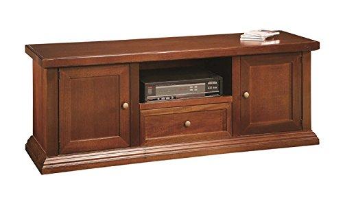 Mobile porta tv portatv panca 2 porte 1 cassetto in legno arte povera color noce