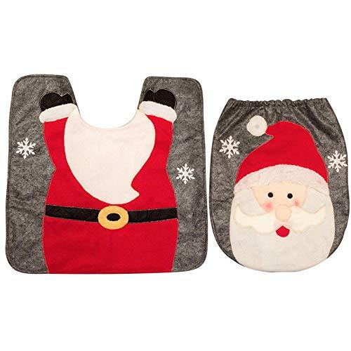 thematys Cubierta del Asiento del Inodoro - alfombras de baño Navidad en Varios diseños - la decoración navideña (Papá Noel)