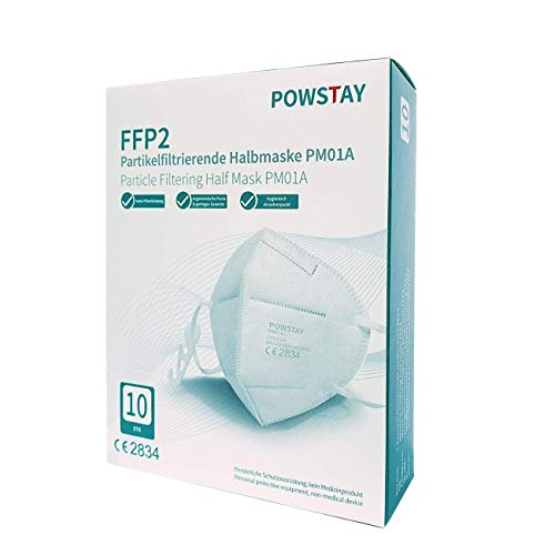 EasyCHEE Powstay PM01A Partikelfiltrierende Schutzmaske FFP2 NR, CE 2834, 5-lagige Filterung, mit Nasenpolster, 10 St Box
