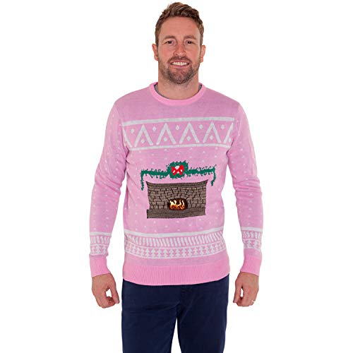 Morph DigitalDudz Crackling Fireplace Pink Christmas Jumper App Connected Knit Sweater