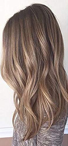 Sunny 14inch Nano Tip Human Hair Extensions Color Dark Brown #4 Mixed Caramel Blonde #27,Nano Ring Hair Extensions Human Hair,Silky Straight, 50gram Per Pack