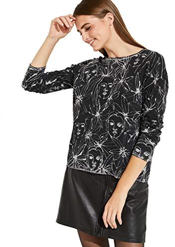 comma Casual Identity Damen Feinstrickpullover mit extravagantem Allovermuster Grey/Black Placed 38