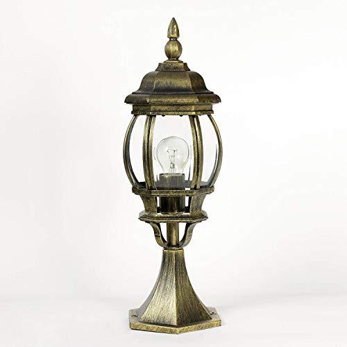 *Außen-Sockelleuchte Weglampe Brest in antik E27 bis 60W IP23 Wetterschutz Wegeleuchte Außen-Leuchte Pfeiler-Lampe*