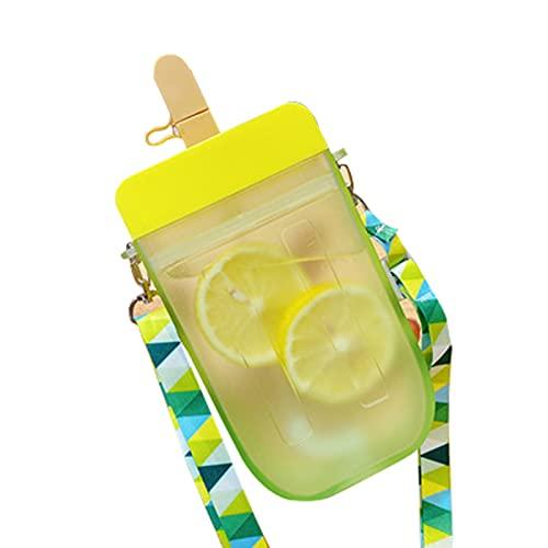 CJFael Botella de agua deportiva para actividades al aire libre, taza de paja portátil de sellado saludable botella de agua potable transparente para oficina amarillo
