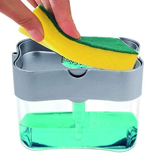 JiaHome Dispensador de jabón líquido, Organizador de Fregadero Dispensador de jabón de Bomba con Soporte de Esponja,para Encimera de Fregadero de Cocina