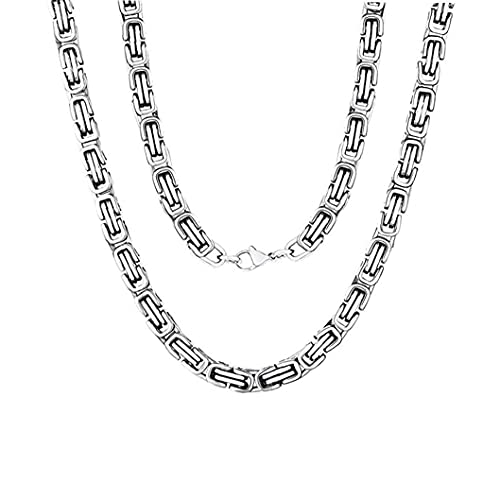 DealMux - Collar de acero inoxidable de 8 mm de ancho para hombre con eslabones de cadena bizantinos