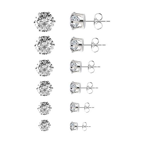 Czemo 6 Paia di Orecchini a Bottone Gioielli in Acciaio Inossidabile Orecchini Punto Luce di Zirconia Cubica per Donna