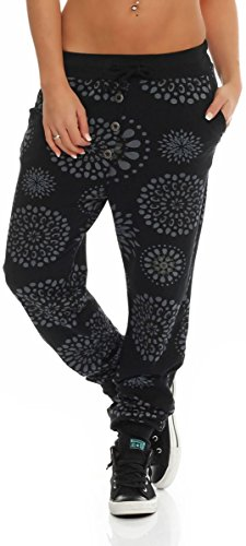 Malito Damen Sweatpants mit Print | Baggy zum Tanzen | Jogginghose mit Knopfleiste | Trainingshose 8027 (schwarz)