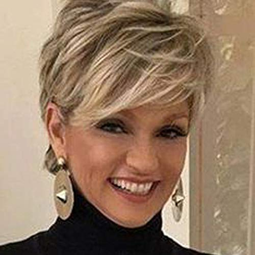 Queentas Pixie Layered Short Blonde Wigs for White Women Synthetic Hair (Blonde Mixed Brown)