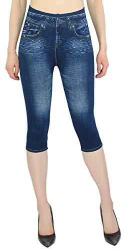 dy_mode Damen Capri Leggings Sommer Jeggings 3/4 Kurze Leggings Frauen in Jeans Optik - 3LG325 (OneSize Gr.36-42, 3LG327)