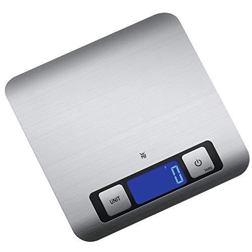 WMF Digitale Küchenwaage 20 x 20 x 1 cm, Backwaage, Haushaltswaage, Edelstahl, grammgenau, Tara-Funktion, 5kg Maximalgewicht, silber