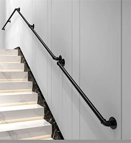 30-600cm Barandilla de Hierro Forjado de tubería Industrial Negra, barandilla de Escalera Antideslizante de Seguridad para discapacitados y Ancianos, Adecuada para inodoros de baño y pasamanos Inter
