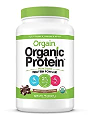 Includes 1 (2.03 pound) orgain organic plant based creamy chocolate fudge protein powder 21 grams of organic plant based protein (pea, brown rice, chia seeds), 6 grams of organic dietary fiber, 3 grams of net carbs, 0 grams of sugar, 150 calories per...