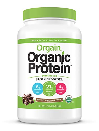 Includes 1 (2.03 Pound) Orgain Organic Plant Based Creamy Chocolate Fudge Protein Powder 21 grams of organic plant based protein (pea, brown rice, chia seeds), 6 grams of organic dietary fiber, 4 grams of net carbs, 0 grams of sugar, 150 calories per...