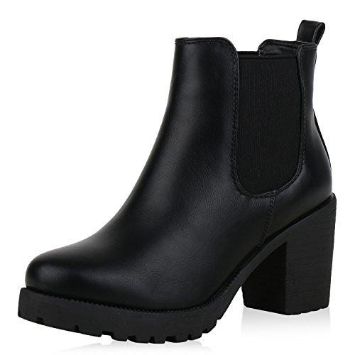 SCARPE VITA Damen Stiefeletten Chelsea Boots Plateau Booties Profil Schuhe 168405 Schwarz 37