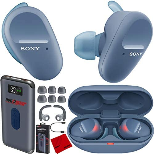 Sony WF SP800N Truly Wireless Noise Canceling Sport Earbud Headphones Blue with IP55 Water Sweat product image