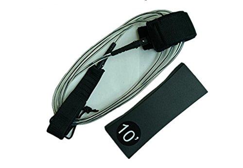 ACHICOO - Correa para Tabla de Surf de Poliuretano termoplástico (TPU), 3 m, Núcleo Negro Transparente.