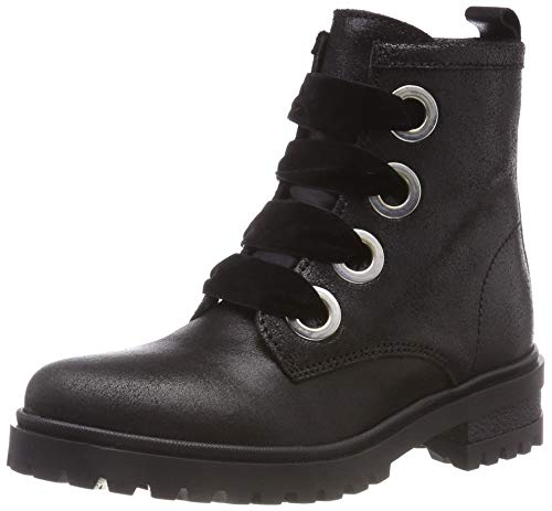 Hilfiger Denim Damen METALLIC Cleated LACE UP Biker Boots, Schwarz (Black 990), 39 EU