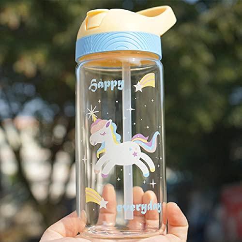 Botella De Agua De Vidrio De Caballo De Dibujos Animados Lindo De 500 Ml Con Pajita Portátil Para Niños Botellas De Viaje Para Estudiantes Agua Sin Bpa