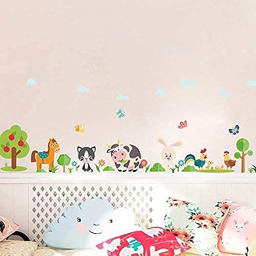 ZHAOHU% Pegatinas de Pared de Granja de Animales encantadores para decoración del hogar habitación de niños Dormitorio Vaca Caballo Cerdo Pollo Mural Arte DIY PVC Pegatinas de Pared