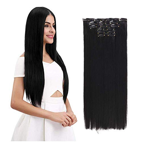 Clip in Hair Extension Natural Black Color 20% Real Remy Human Hair+80%...