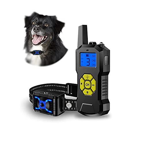 Verbessertes Antibell Halsband mit 800M Fernbedienung, Wiederaufladbar Hundetraininghalsband Anti-Bell-Hundehalsbänder mit Spray/Vibration/Ton-Modi, für Kleine, Mittelgroße und Große Hunde
