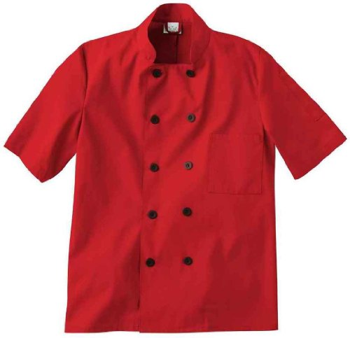 Five Star 18025 Unisex Short Sleeve Chef Jacket (Red, X-Large)
