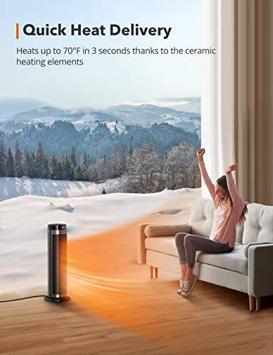 """TaoTronics PTC Space Heater, 1500W Fast Heating Ceramic Tower Fan Heater, 24"""" High Oscillating Portable & Quiet with Remote ECO Mode 12H Timer Tip-Over Switch Overheating Protection LED Display, Black"""