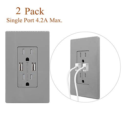 (2 Pack, Gray) USB Outlets Receptacles 4.2 Amp High Speed Electrical Wall Outlets Charger with Screwless Wall Plates 125V 15A Tamper-Resistant Duplex Receptacles Plugs