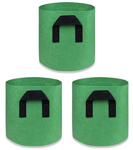 L CLOVER フェルト プランター 栽培袋 ポット 不織布 植木鉢 バッグ ガーデニング 通気性 根域制限 3個セット (グリーン5ガロン)