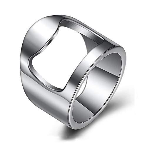 INRENG Stainless Steel Biker Finger Bottle Opener Ring for Men Women Creative Beer Bar Tool Jewelry Size 6