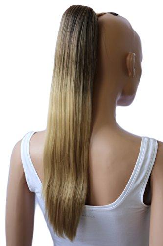 PRETTYSHOP 50cm Haarteil Zopf Pferdeschwanz Haarverlängerung Glatt Ombré Braun Blond H113