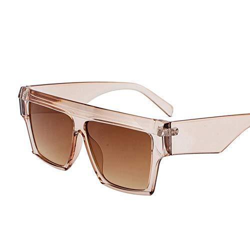 WHSS Gafas de Sol Gafas Personalizadas De Europa Y De Los Estados Unidos. Gafas De Sol De Playa. Gafas Redondas De Cara Redonda. Gafas Universales. (Color : Brown)