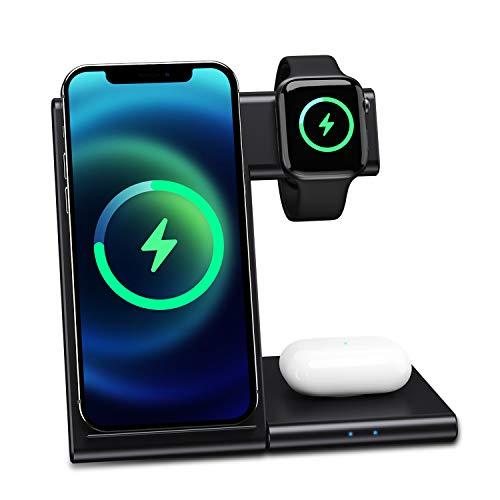 Cargador inalámbrico 3 en 1 para Apple Watch 6/SE/5/4/3/2/1/Airpods Pro, cargador inalámbrico, soporte de carga inalámbrico para iPhone 12/11 Pro Max/SE 2/XS Max/XR/8 Plus/X/Samsung Galaxy