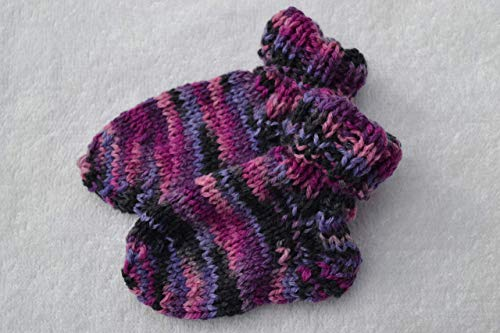 Socken Baby Babysocken Erstlingssocken Stricksocken Babyschuhe Babyschühchen rosa pink lila bunt handgestrickt 0-6 Monate